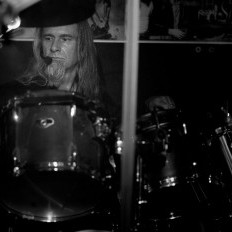 Rich Morris The Singing Drummer Performing in grayscale image