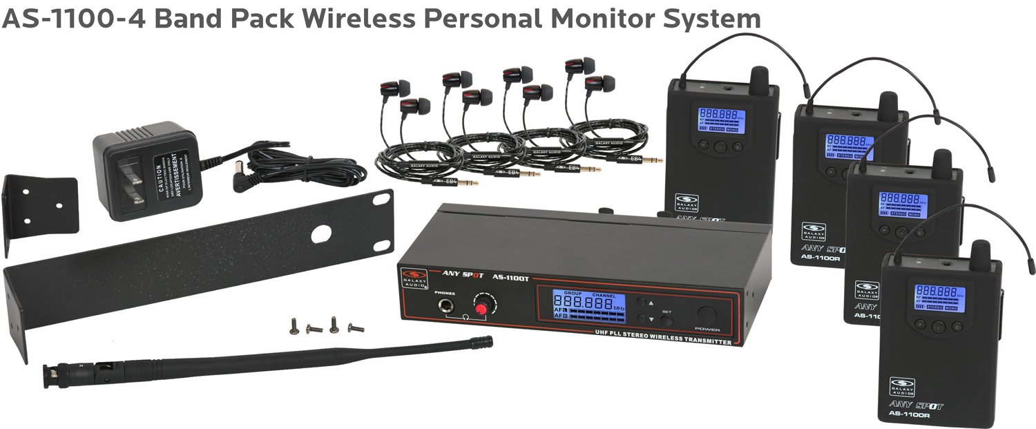 AS-1100-4 Band Pack Wireless Personal Monitor System