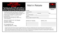 AS-1100 Single System $50 Mail-in Rebate Form PDF Format