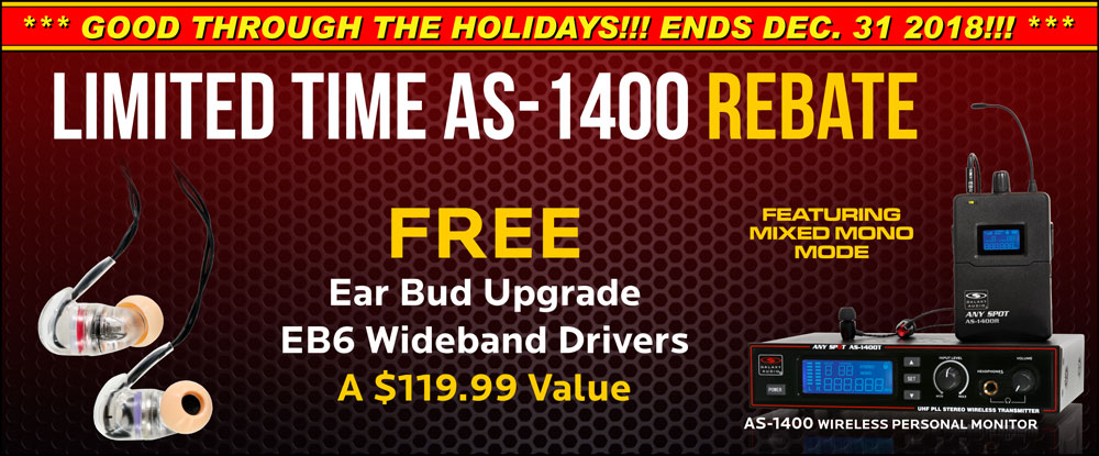 Limited Time AS-1400 Mail-in Rebate for EB6 Ear Bud Upgrade