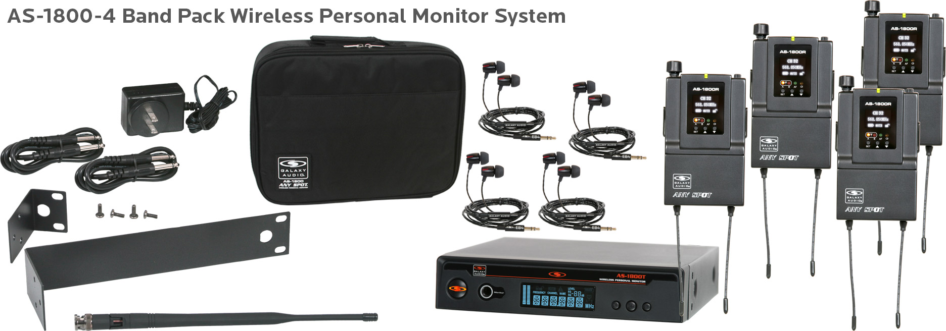 AS-1800-4 Band Pack Wireless Personal Monitor by Galaxy Audio