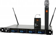 DHXR4 QUAD Wireless Mic System with 4 Mic Receivers in a Single Rack Space (UHF)