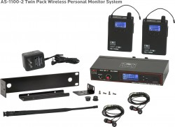 AS-1100-2 Wireless In-Ear Monitor Twin Pack System with Standard EB4 Ear Buds: 120 selectable channels, includes (1) AS-1100T, (2) AS-1100R, (2) EB4 ear buds, single/dual rack kit, antenna, and power supply.