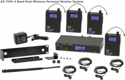 AS-1100-4 Wireless In-Ear Monitor Band Pack System with Standard EB4 Ear Buds: 120 selectable channels, includes (1) AS-1100T, (4) AS-1100R, (4) EB4 ear buds, single/dual rack kit, antenna, and power supply.