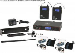 AS-1106-2 Wireless In-Ear Monitor Twin Pack System with EB6 Ear Bud Upgrade: 120 selectable channels, includes (1) AS-1100T, (2) AS-1100R, (2) EB6 ear buds, single/dual rack kit, antenna, and power supply.