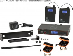 AS-1110-2 Wireless In-Ear Monitor Twin Pack System with EB10 Ear Bud Upgrade: 120 selectable channels, includes (1) AS-1100T, (2) AS-1100R, (2) EB10 ear buds, single/dual rack kit, antenna, and power supply.