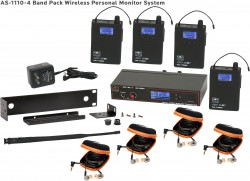 AS-1110-4 Wireless In-Ear Monitor Band Pack System with EB10 Ear Bud Upgrade: 120 selectable channels, includes (1) AS-1100T, (4) AS-1100R, (4) EB10 ear buds, single/dual rack kit, antenna, and power supply.