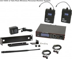 AS-1400-2 Wireless In-Ear Monitor Twin Pack System with EB4 Ear Bud Upgrade: 275 selectable channels, includes (1) AS-1400T, (2) AS-1400R, (2) EB4 ear buds, single/dual rack kit, antenna, and power supply.