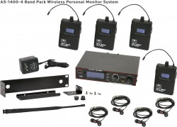 AS-1400-4 Wireless In-Ear Monitor Band Pack System with Standard EB4 Ear Buds: 275 selectable channels, includes (1) AS-1400T, (4) AS-1400R, (4) EB4 ear buds, single/dual rack kit, antenna, and power supply.