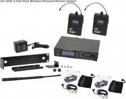 AS-1406-2 Wireless In-Ear Monitor Twin Pack System with EB6 Ear Bud Upgrade: 275 selectable channels, includes (1) AS-1400T, (2) AS-1400R, (2) EB6 ear buds, single/dual rack kit, antenna, and power supply.