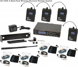 AS-1406-4 Wireless In-Ear Monitor Band Pack System with EB6 Ear Bud Upgrade: 275 selectable channels, includes (1) AS-1400T, (4) AS-1400R, (4) EB6 ear buds, single/dual rack kit, antenna, and power supply.