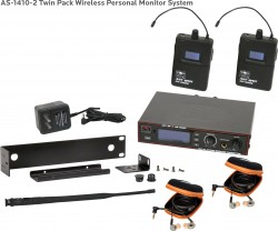 AS-1410-2 Wireless In-Ear Monitor Twin Pack System with EB10 Ear Bud Upgrade: 275 selectable channels, includes (1) AS-1400T, (2) AS-1400R, (2) EB10 ear buds, single/dual rack kit, antenna, and power supply.