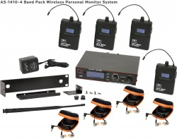 AS-1410-4 Wireless In-Ear Monitor Band Pack System with EB10 Ear Bud Upgrade: 275 selectable channels, includes (1) AS-1400T, (4) AS-1400R, (4) EB10 ear buds, single/dual rack kit, antenna, and power supply.