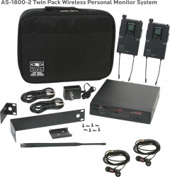 AS-1800-2 Wireless In-Ear Monitor Twin Pack System with Standard EB4 Ear Buds: 640 selectable frequencies; 32 selectable channels, includes (1) AS-1800T, (2) AS-1800R, (2) EB4 ear buds, single/dual rack kit, antenna, two 1/4