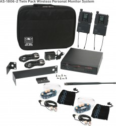 AS-1806-2 Wireless In-Ear Monitor Twin Pack System with EB6 Ear Bud Upgrade: 640 selectable frequencies; 32 selectable channels, includes (1) AS-1800T, (2) AS-1800R, (2) EB6 ear buds, single/dual rack kit, antenna, two 1/4