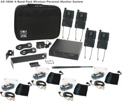 AS-1806-4 Wireless In-Ear Monitor Band Pack System with EB6 Ear Bud Upgrade: 640 selectable frequencies; 32 selectable channels, includes (1) AS-1800T, (4) AS-1800R, (4) EB6 ear buds, single/dual rack kit, antenna, two 1/4
