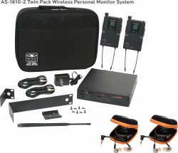 AS-1810-2 Wireless In-Ear Monitor Twin Pack System with EB10 Ear Bud Upgrade: 640 selectable frequencies; 32 selectable channels, includes (1) AS-1800T, (2) AS-1800R, (2) EB10 ear buds, single/dual rack kit, antenna, two 1/4