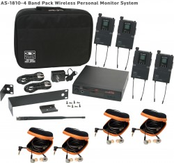 AS-1810-4 Wireless In-Ear Monitor Band Pack System with EB10 Ear Bud Upgrade: 640 selectable frequencies; 32 selectable channels, includes (1) AS-1800T, (4) AS-1800R, (4) EB10 ear buds, single/dual rack kit, antenna, two 1/4