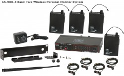 AS-900-4 Wireless In-Ear Monitor Band Pack System with Standard EB4 Ear Buds: Fixed UHF frequency options, includes (1) AS-900T, (4) AS-900R, (4) EB4 ear buds, single/dual rack kit, antenna, and power supply.