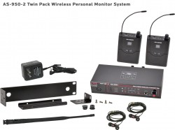 AS-950-2 Wireless In-Ear Monitor with Standard EB4 Ear Buds: Includes (1) AS-950T, (2) AS-950R, (2) EB4 ear buds, single/dual rack kit, antenna, and power supply.