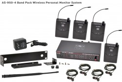 AS-950-4 Wireless In-Ear Monitor with Standard EB4 Ear Buds: Includes (1) AS-950T, (4) AS-950R, (4) EB4 ear buds, single/dual rack kit, antenna, and power supply.