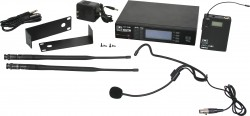 DHTR/76HS - Headset Mic: Uni-directional, Frequency Response 50Hz-18kHz. This system includes the DHTR Receiver, MBP76 Body Pack Transmitter, and the HS-U3BK Headset Microphone.