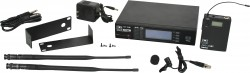DHTR/76LV - Lavalier Mic: Uni-element, Frequency Response 50Hz-19kHz. This system includes the DHTR Receiver, MBP76 Body Pack Transmitter, and the LV-U3BK Lavalier Microphone.