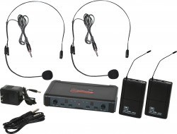 ECDR/38SS - Headset Microphones: Uni-Directional. This system includes the ECDR Receiver, 2 MBP38 Body Pack Transmitters, and 2 HS13-UBK Headset Microphones.