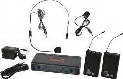 ECDR/38SV - Headset and Lavalier Microphones: Uni-Directional. This system includes the ECDR Receiver, 2 MBP38 Body Pack Transmitters, the HS13-UBK Headset Microphone, and the LV13-UBK Lavalier Microphone.