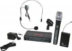 ECDR/HHBPS - Headset Microphone: Uni-Directional. This system includes the ECDR Receiver, the HH38 Hand Held Transmitter, the MBP38 Body Back Transmitter, and the HS13-UBK Headset Microphone.