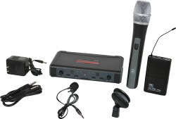 ECDR/HHBPV - Lavalier Microphone: Uni-Directional. This system includes the ECDR Receiver, the HH38 Hand Held Transmitter, the MBP38 Body Back Transmitter, and the LV13-UBK Lavalier Microphone.