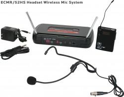 ECMR/52HS - Wireless Headset Microphone: Fixed Frequency, Adjustable Gain, Hooks over both ears, Flexible 5