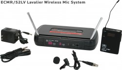 ECMR/52LV - Lavalier Mic: Uni Element, Lapel/Lavalier, Frequency Response 50Hz-19kHz. This system includes the ECMR Receiver, the MBP52 Body Pack Transmitter, and the LV-U3BK Lavalier Microphone.