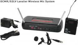 ECMR/52LV - Lavalier Mic: Uni Element, Lapel/Lavalier, Frequency Response 50Hz-19kHz. This system includes the ECMR Receiver, the MBP52 Body Pack Transmitter, and the LV-U3BK Lavalier Microphone.