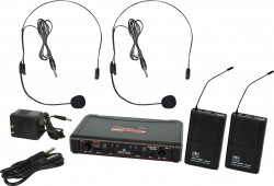 EDXR/38SS - Headset Microphones: Uni-Directional. This system includes the EDXR Receiver, 2 MBP38 Body Pack Transmitters, and 2 HS13-UBK Headset Microphones.