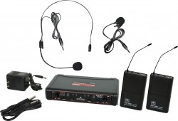 EDXR/38SV - Headset and Lavalier Microphones: Uni-Directional. This system includes the EDXR Receiver, 2 MBP38 Body Pack Transmitters, the HS13-UBK Headset Microphone, and the LV13-UBK Lavalier Microphone.