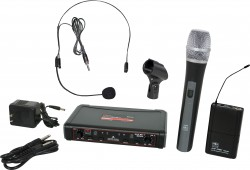 EDXR/HHBPS - Headset & Handheld Microphone: Uni-Directional. This system includes the EDXR Receiver, the HH38 Handheld Transmitter, the MBP38 Body Back Transmitter, and the HS13-UBK Headset Microphone.