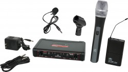 EDXR/HHBPV - Lavalier & Handheld Microphone: Uni-Directional. This system includes the EDXR Receiver, the HH38 Handheld Transmitter, the MBP38 Body Back Transmitter, and the LV13-UBK Lavalier Microphone.
