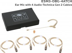 ESM3-OBG-4ATCH: Beige Omni-Directional Ear Mic: Includes (1) Single Ear Mic, (4) Beige Generation 2 cH Audio-Technica Connector Cables, (1) Windscreen, and (1) Case