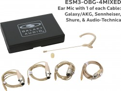 ESM3-OBG-4MIXED: Beige Omni-Directional Ear Mic: Includes (1) Single Ear Mic, (4) Beige Mixed Connector Cables [1 Audio-Technica, 1 Galaxy Audio/AKG, 1 Sennheiser, 1 Shure], (1) Windscreen, and (1) Case