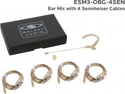ESM3-OBG-4SEN: Beige Omni-Directional Ear Mic: Includes (1) Single Ear Mic, (4) Biege Sennheiser Connector Cables, (1) Windscreen, and (1) Case