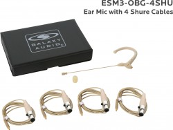 ESM3-OBG-4SHU: Beige Omni-Directional Ear Mic: Includes (1) Single Ear Mic, (4) Biege Shure Connector Cables, (1) Windscreen, and (1) Case