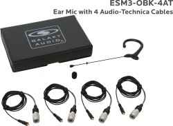 ESM3-OBK-4AT: Black Omni-Directional Ear Mic: Includes (1) Single Ear Mic, (4) Black Generation 1 cW Audio-Technica Connector Cables, (1) Windscreen, and (1) Case