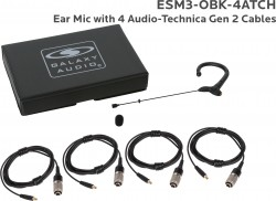 ESM3-OBK-4AT: Black Omni-Directional Ear Mic: Includes (1) Single Ear Mic, (4) Black Generation 2 cH Audio-Technica Connector Cables, (1) Windscreen, and (1) Case