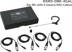 ESM3-OBK-4GAL: Black Omni-Directional Ear Mic: Includes (1) Single Ear Mic, (4) Black Galaxy Audio/AKG Connector Cables, (1) Windscreen, and (1) Case