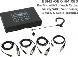 ESM3-OBK-4MIXED: Black Omni-Directional Ear Mic: Includes (1) Single Ear Mic, (4) Black Mixed Connector Cables [1 Audio-Technica, 1 Galaxy Audio/AKG, 1 Sennheiser, 1 Shure], (1) Windscreen, and (1) Case
