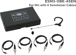 ESM3-OBK-4SEN: Black Omni-Directional Ear Mic: Includes (1) Single Ear Mic, (4) Black Sennheiser Connector Cables, (1) Windscreen, and (1) Case