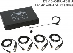 ESM3-OBK-4SHU: Black Omni-Directional Ear Mic: Includes (1) Single Ear Mic, (4) Black Shure Connector Cables, (1) Windscreen, and (1) Case