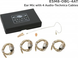 ESM8-OBG-4AT: Beige Omni-Directional Ear Mic: Includes (1) Single Ear Mic, (4) Beige Generation 1 cW Audio-Technica Connector Cables, (1) Windscreen, (1) Mic Clip, and (1) Case