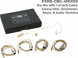 ESM8-OBG-4MIXED: Beige Omni-Directional Ear Mic: Includes (1) Single Ear Mic, (4) Beige Mixed Connector Cables [1 Audio-Technica, 1 Galaxy Audio/AKG, 1 Sennheiser, 1 Shure], (1) Windscreen, (1) Mic Clip, and (1) Case